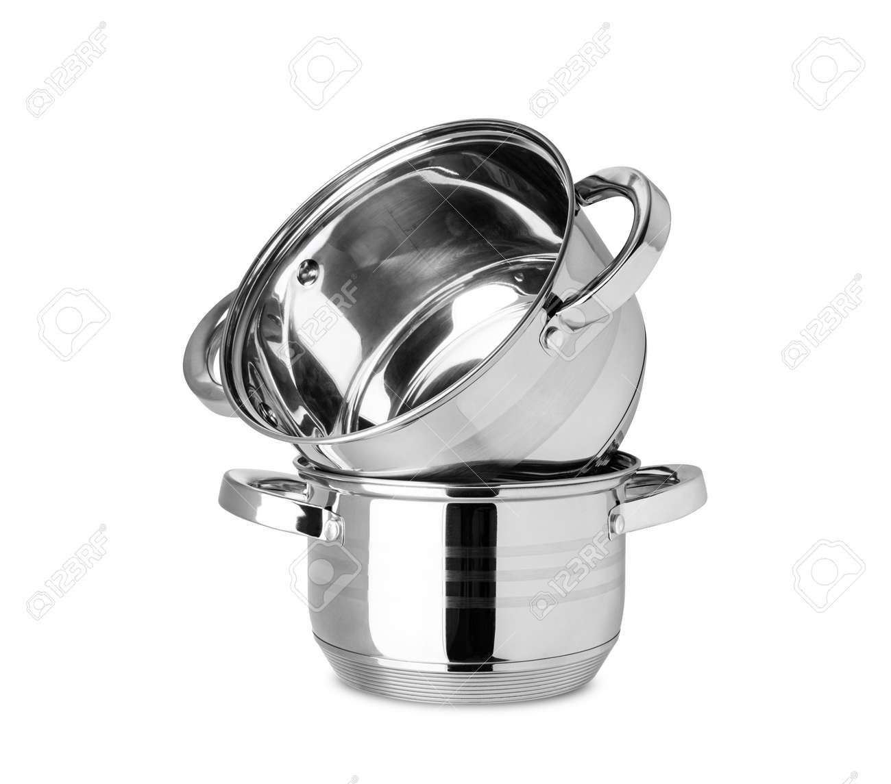 Stainless steel pot set, kitchen tools isolated on white background. With clipping path - 170242750