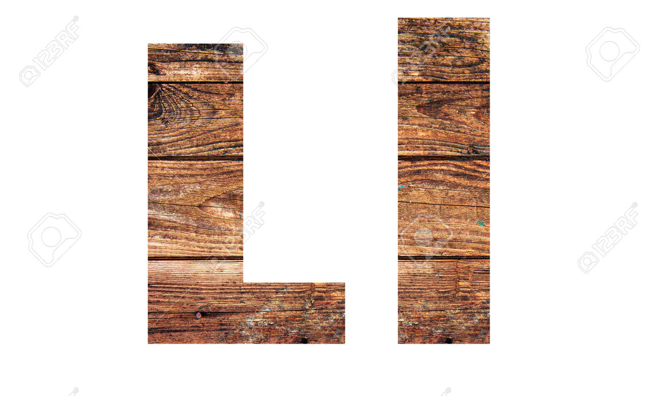 Wooden letters. Letter L. English alphabet isolated on white background. With clipping path - 170242752