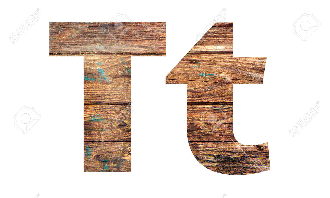 Wooden letters. Letter T. English alphabet isolated on white background. With clipping path - 170242754