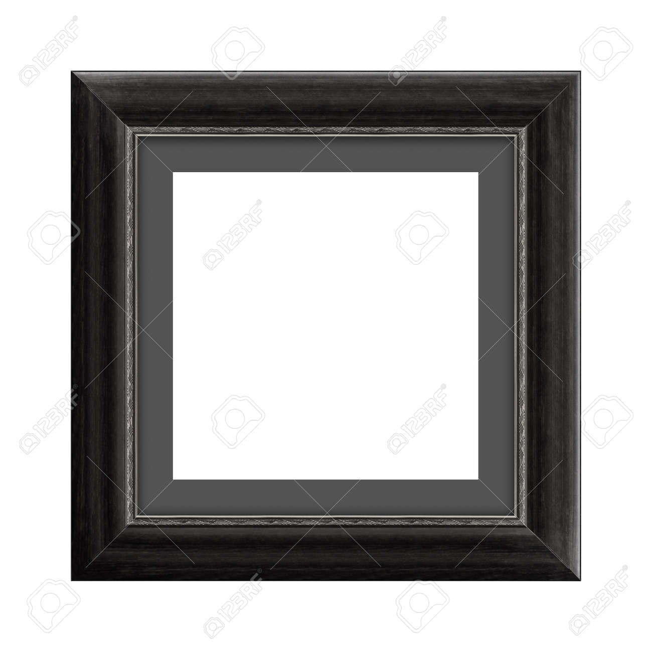 black wooden frame for picture or photo, frame for a mirror isolated on white background. With clipping path - 170242759