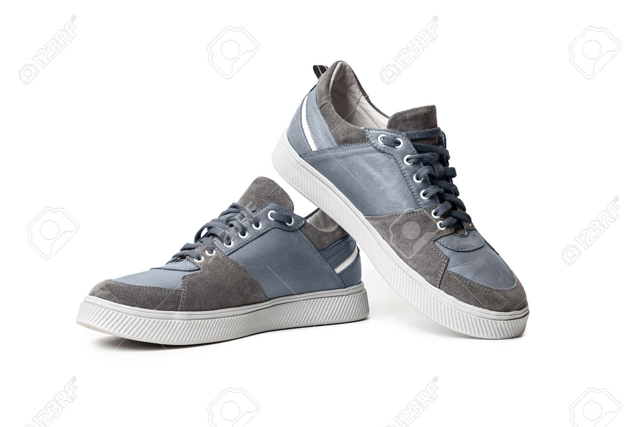 Blue casual sports shoes, sneaker isolated on a white background - 170242764