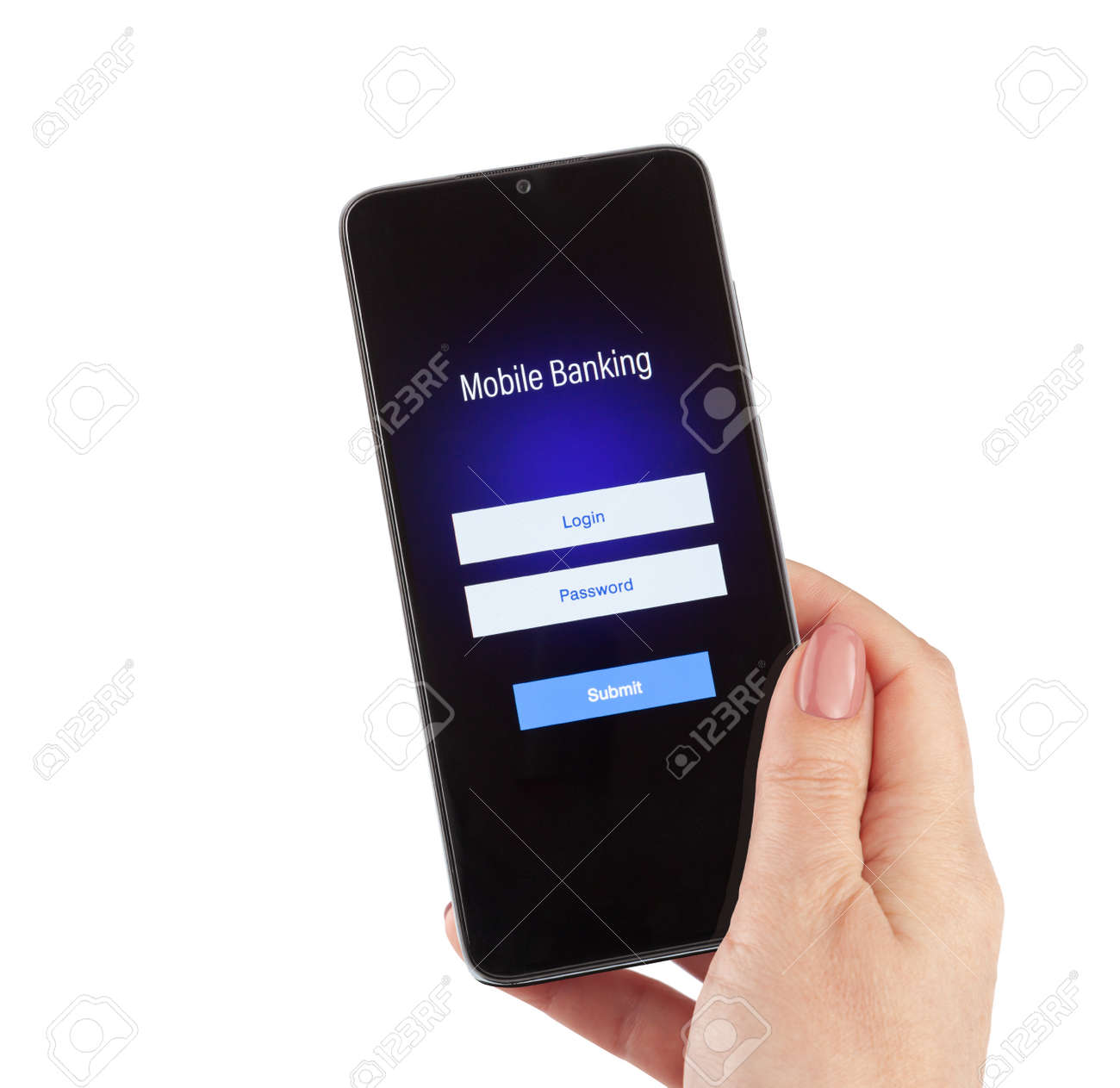 Female hand hold mobile banking on a smartphone on white background - 170242795