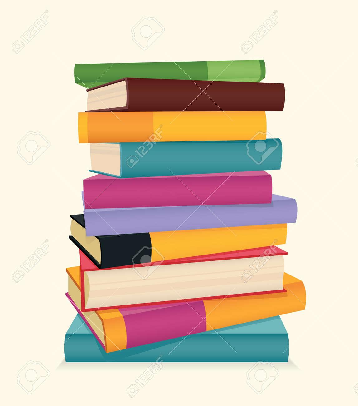 Pila De Libros Coloridos Ilustración Vectorial Ilustraciones ...