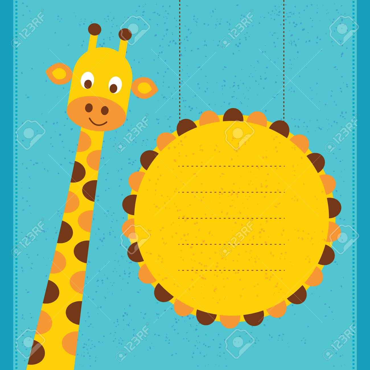 Tarjeta De La Ducha De Bebé Tarjeta De Cumpleaños Con Jirafa Ilustración Vectorial