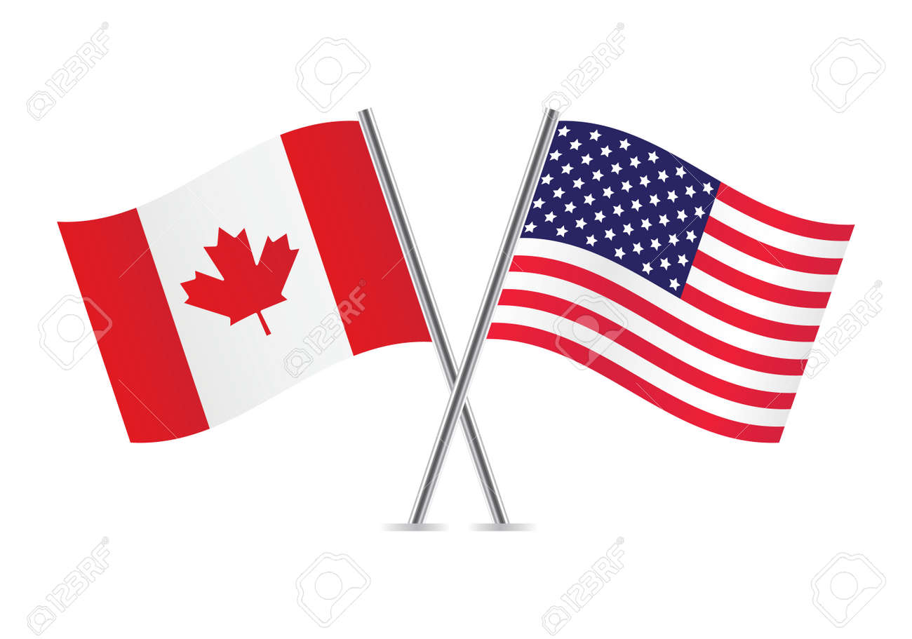 american and canadian flags illustration royalty free cliparts