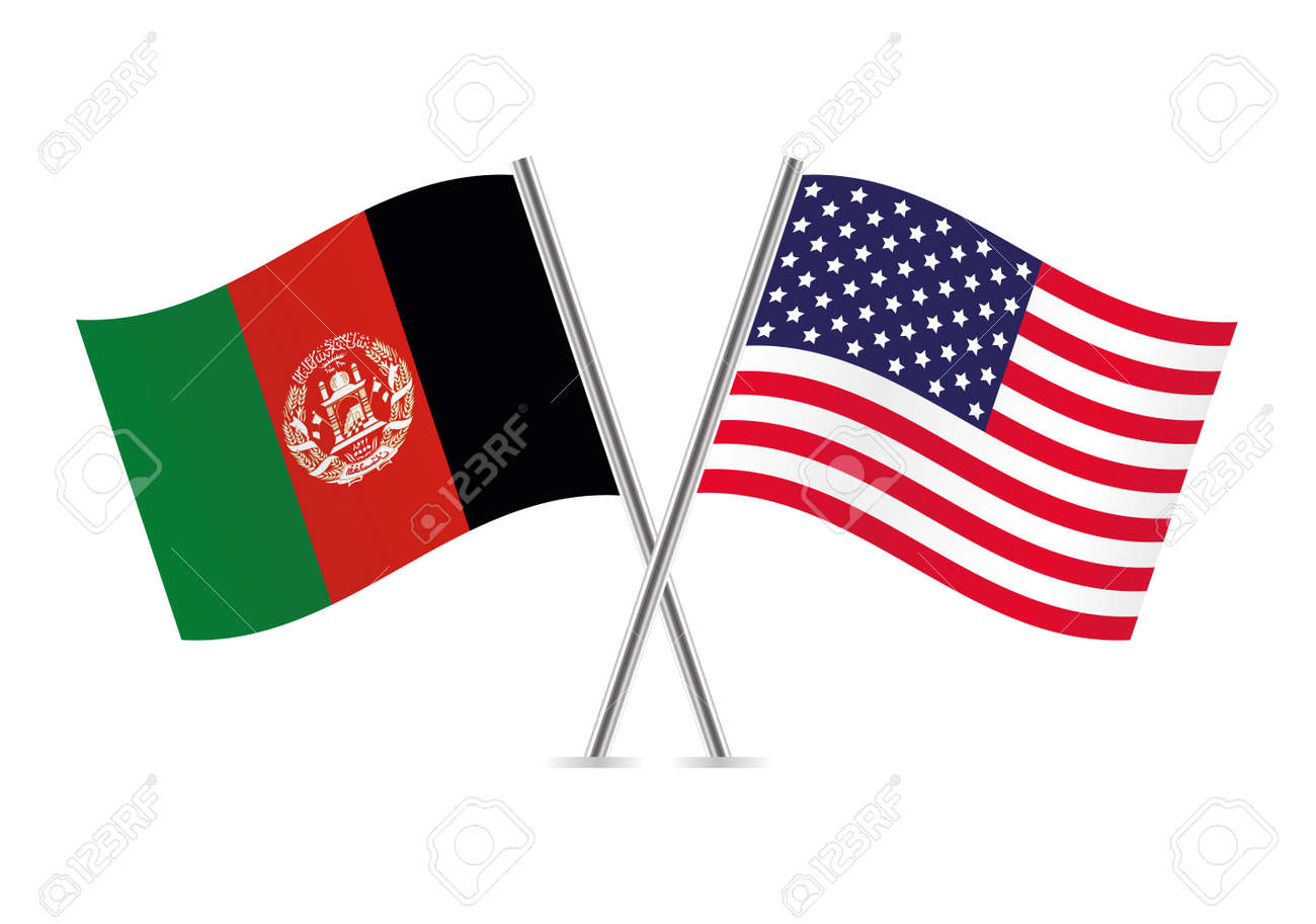 Afganistan and American flags. Vector illustration. - 124001797
