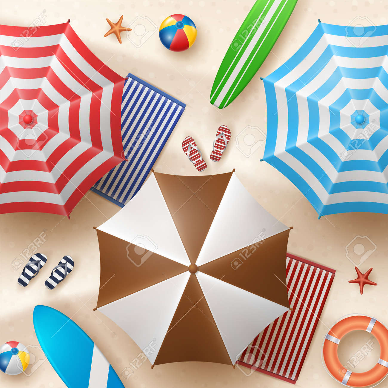 Vector Summer Holiday Illustration with Beach Ball, Palm Leaves, Surf Board and Typography Letter on Beach Sands Background. - 151280843
