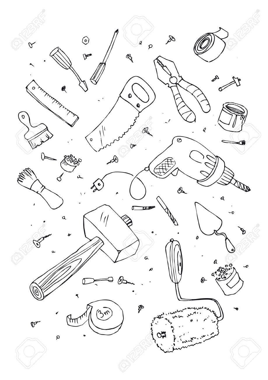 illustration of tools, hand drawn design set. Stock Vector - 6746242