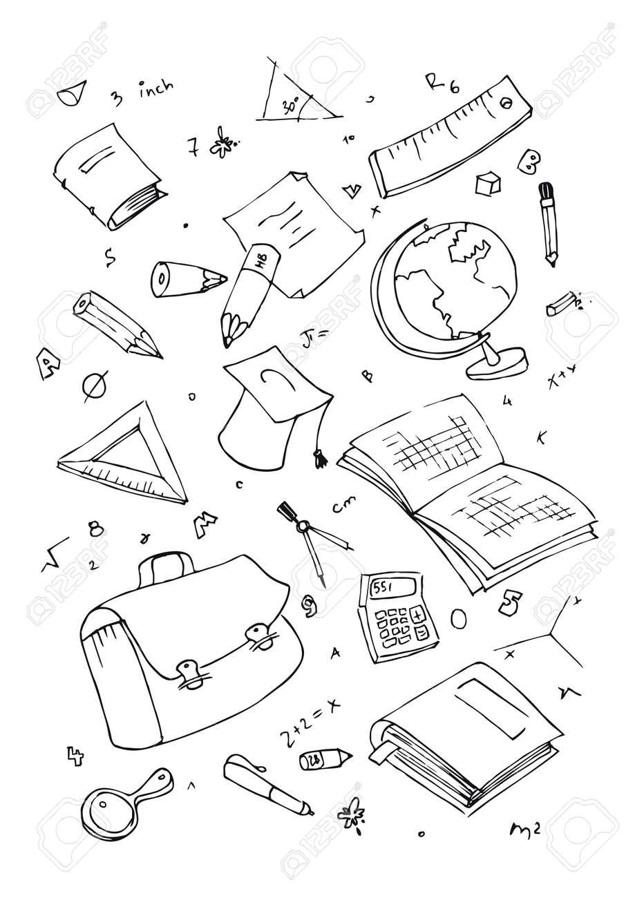 illustration of school subjects, hand drawn design set. - 6746306