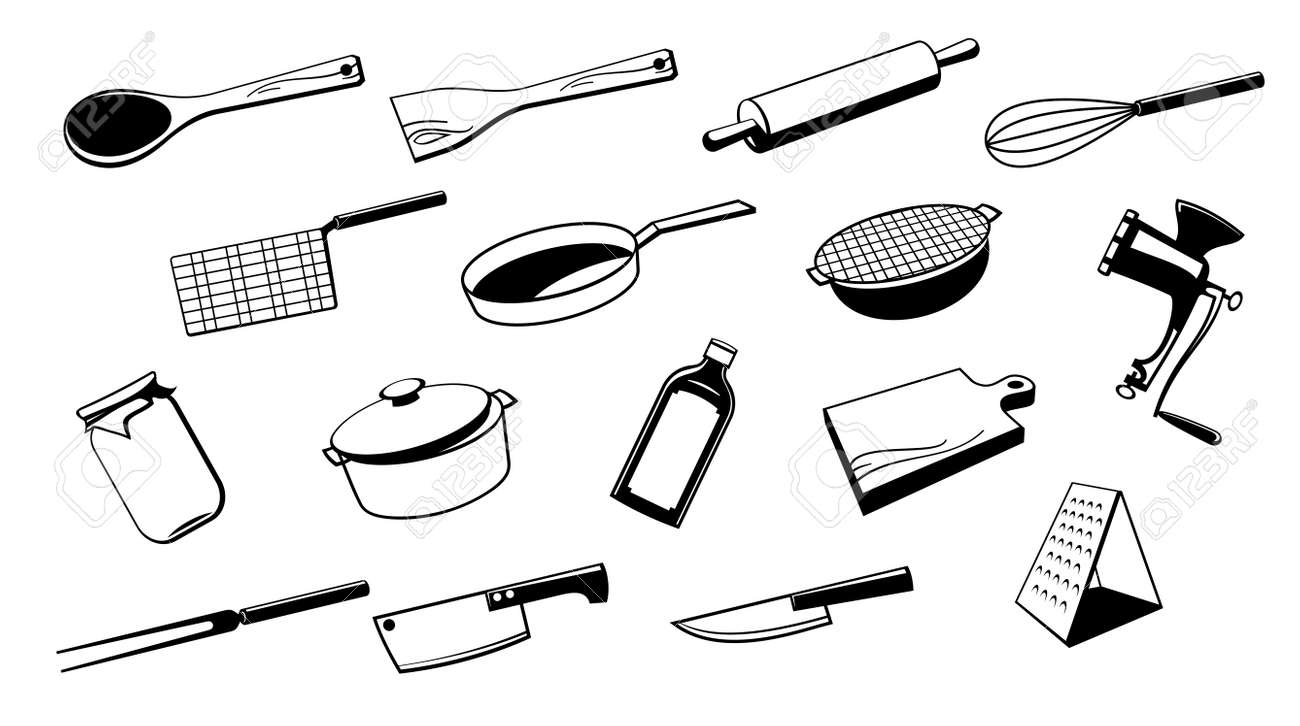 Kitchen Tools Drawings Fine Cooking Utensils Drawing E In Decorating Ideas