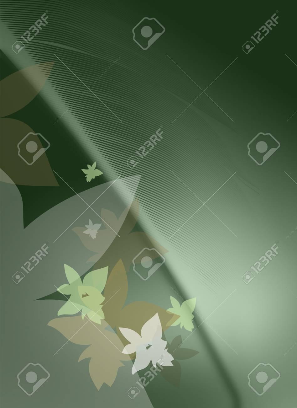 Immagini Stock Sfondo Verde Con Fiori E Piume Image 7200796