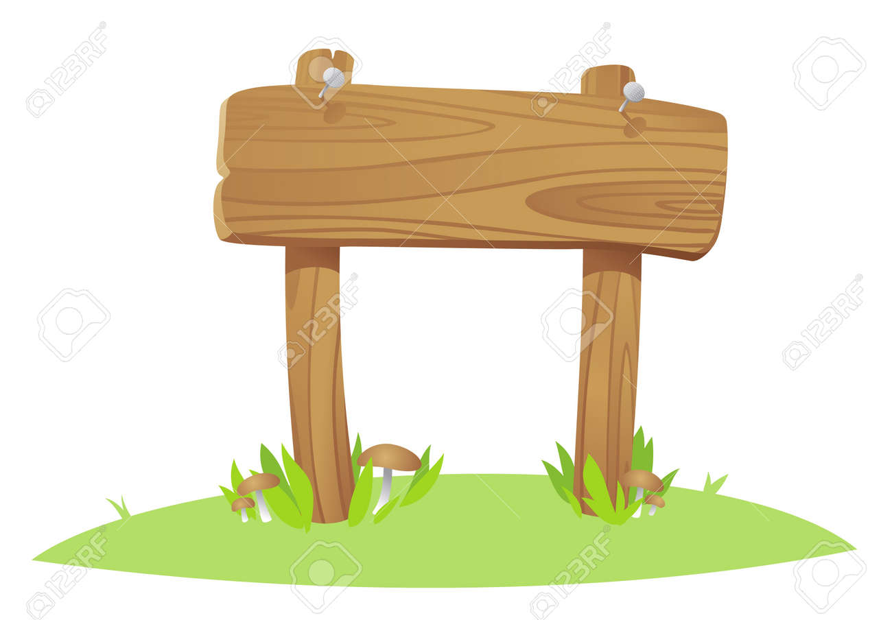 wooden board on a grass Stock Vector - 7318128
