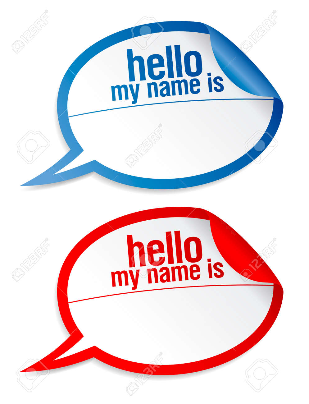Color name tag blank stickers hello my name is, in form of speech bubbles. Stock Vector - 7879657