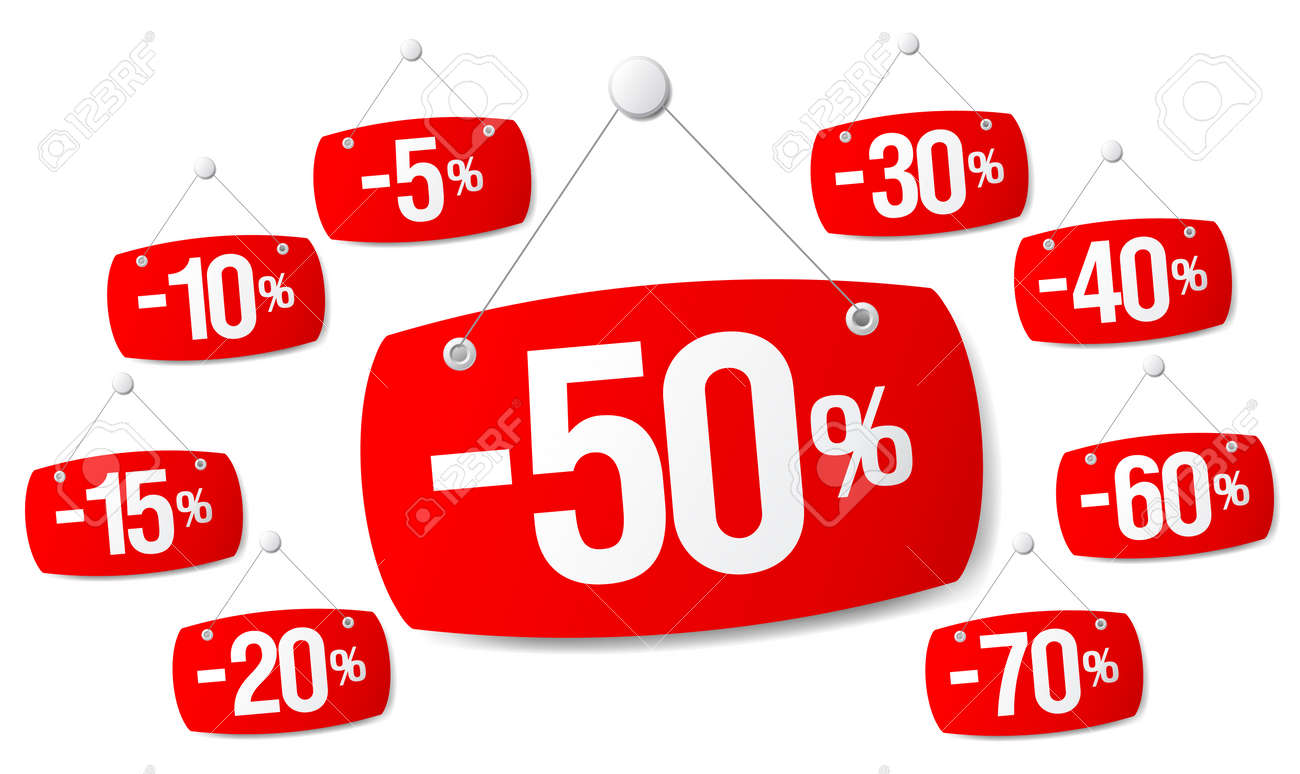 percentage discounts set of red signs for discount sale