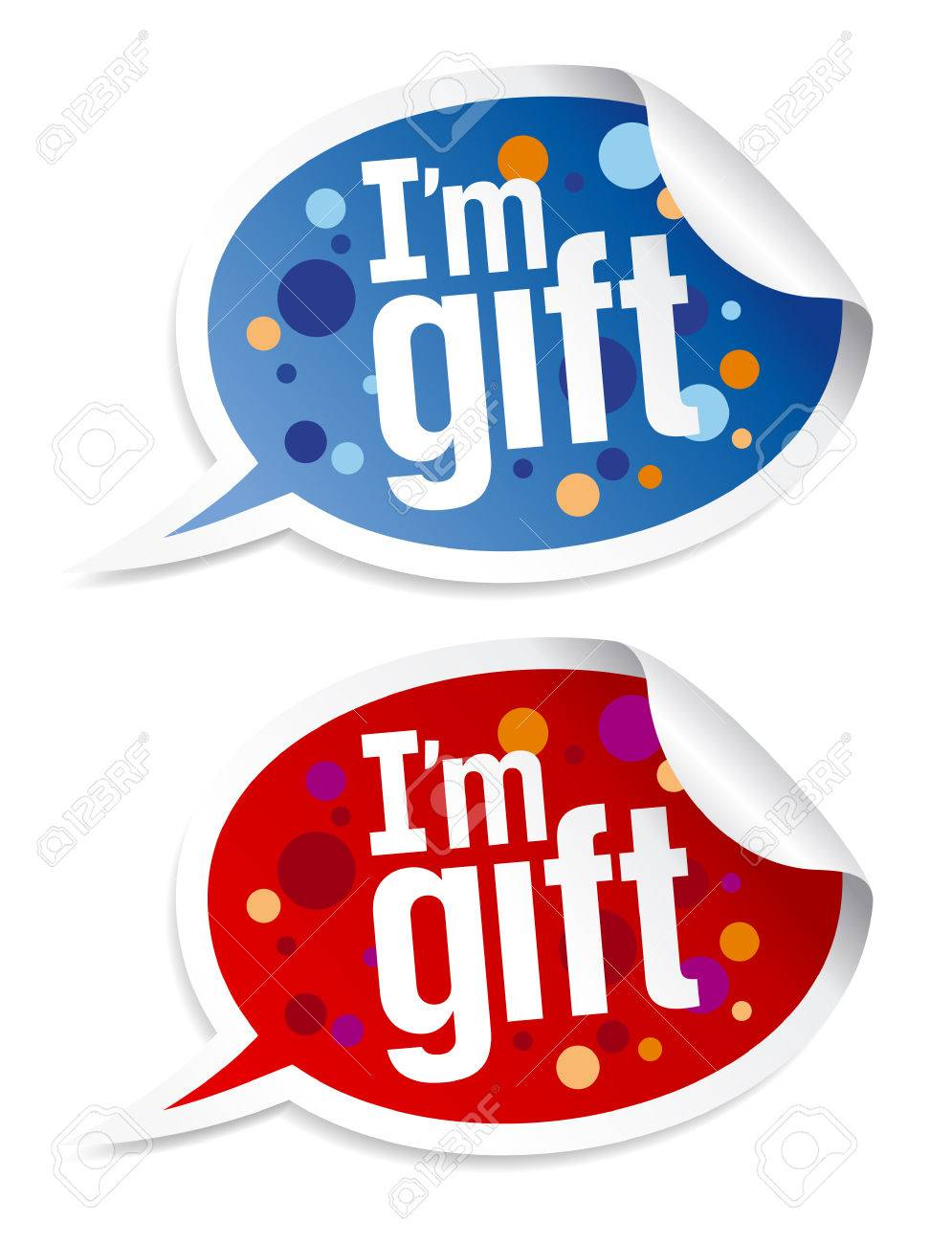 I`m gift stickers set in form of speech bubbles. Stock Vector - 8340807