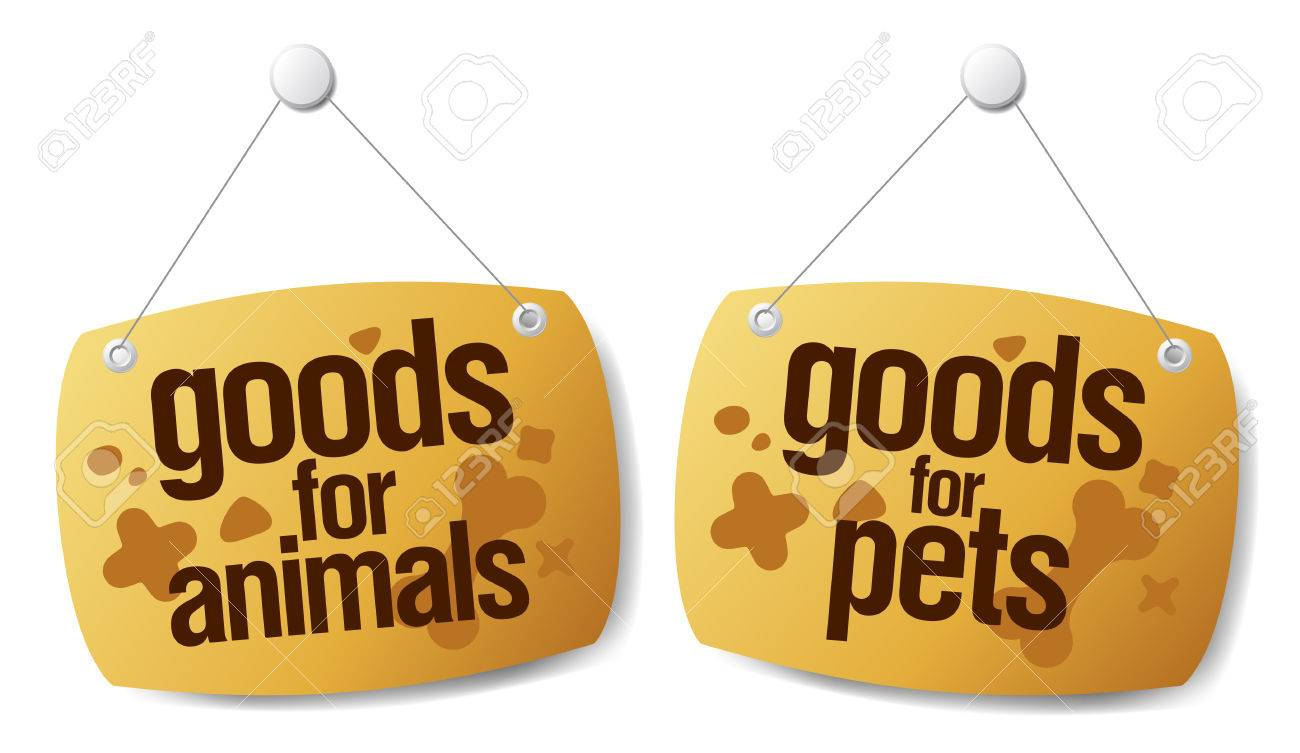goods for pets signs set Stock Vector - 8548809