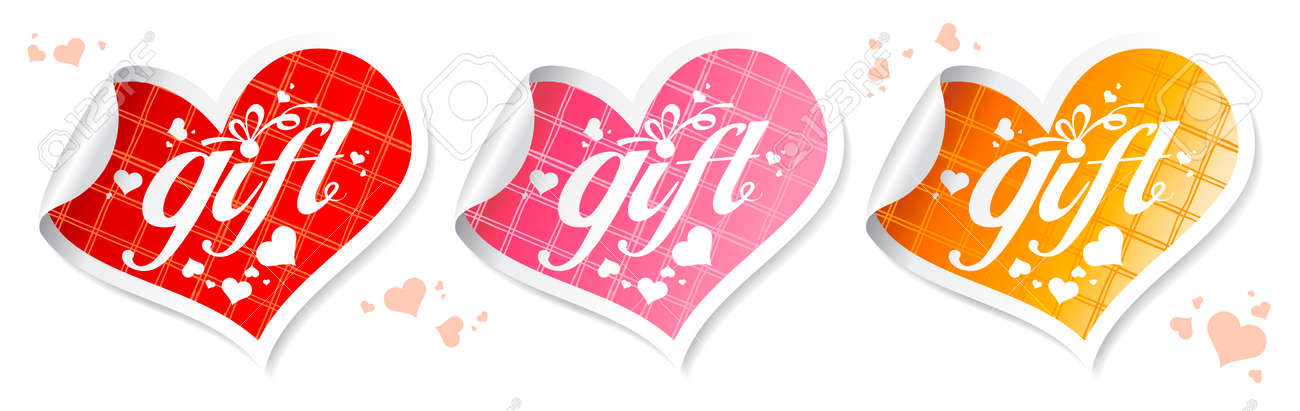 Gift stickers in the shape of a heart. Stock Vector - 8567546