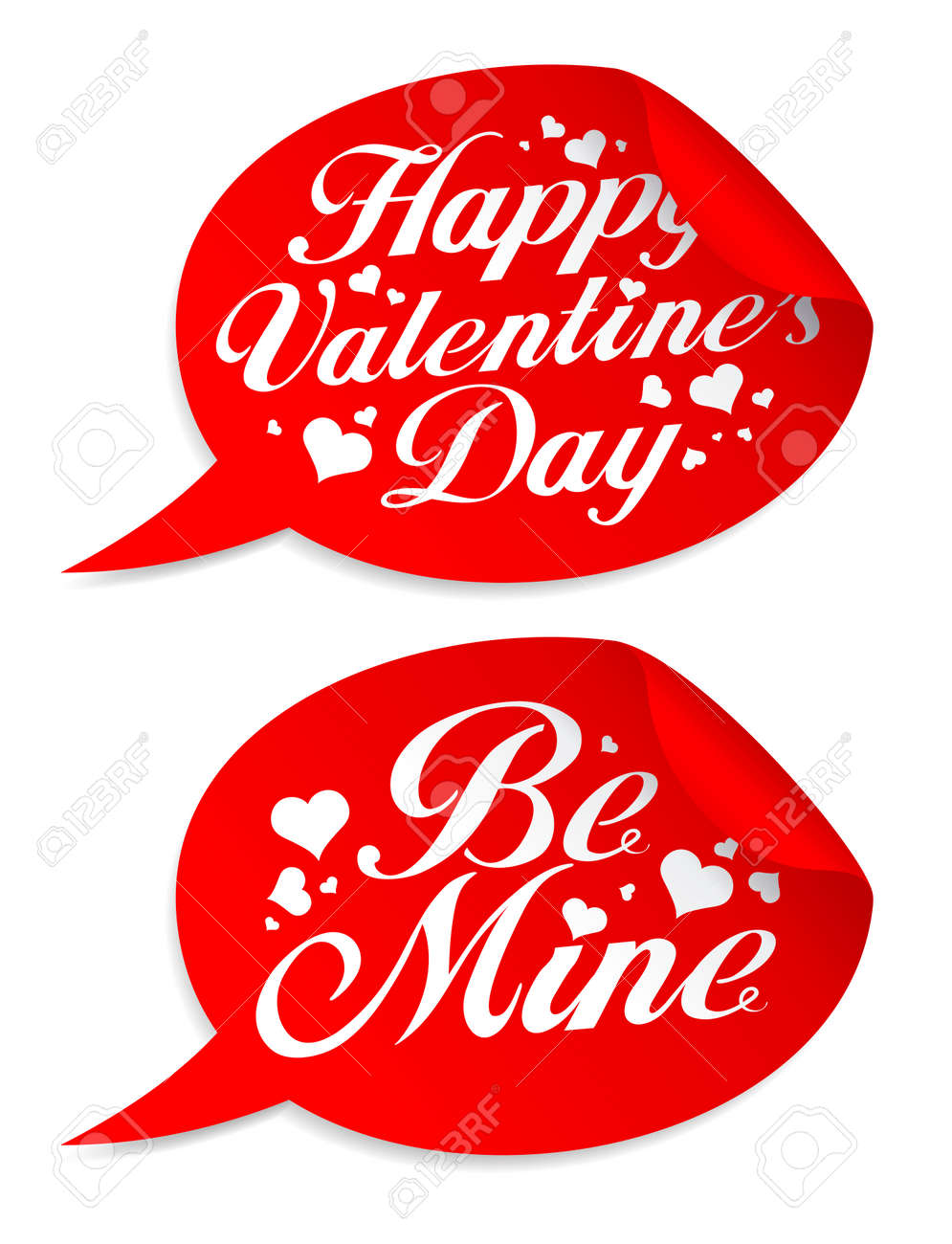 Happy Valentine`s day stickers in form of speech bubbles. Stock Vector - 8618997