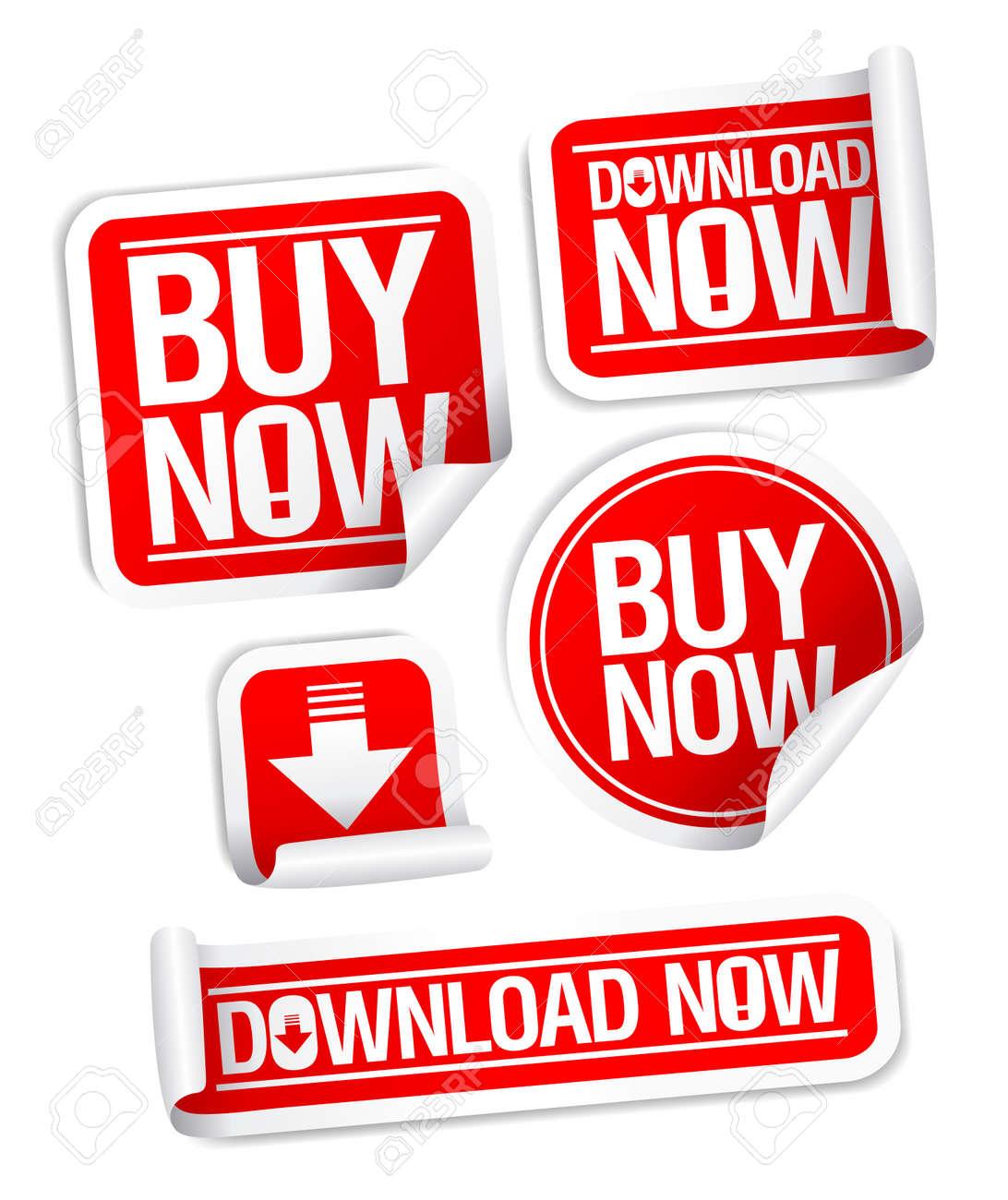 Buy Now, Download Now online store stickers set. Stock Vector - 8668971
