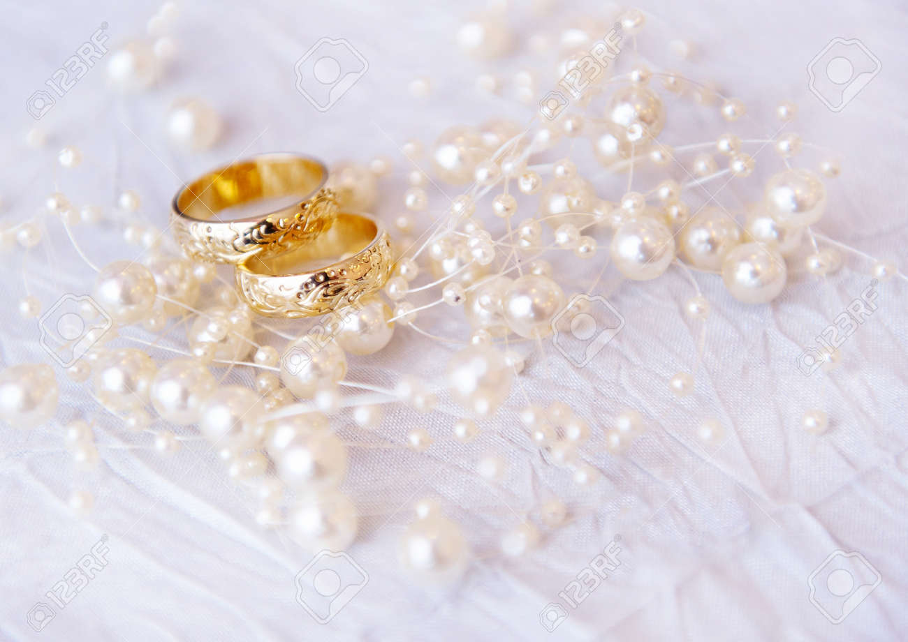 Wedding Rings With Pearls, Soft Focus Stock Photo  8853047