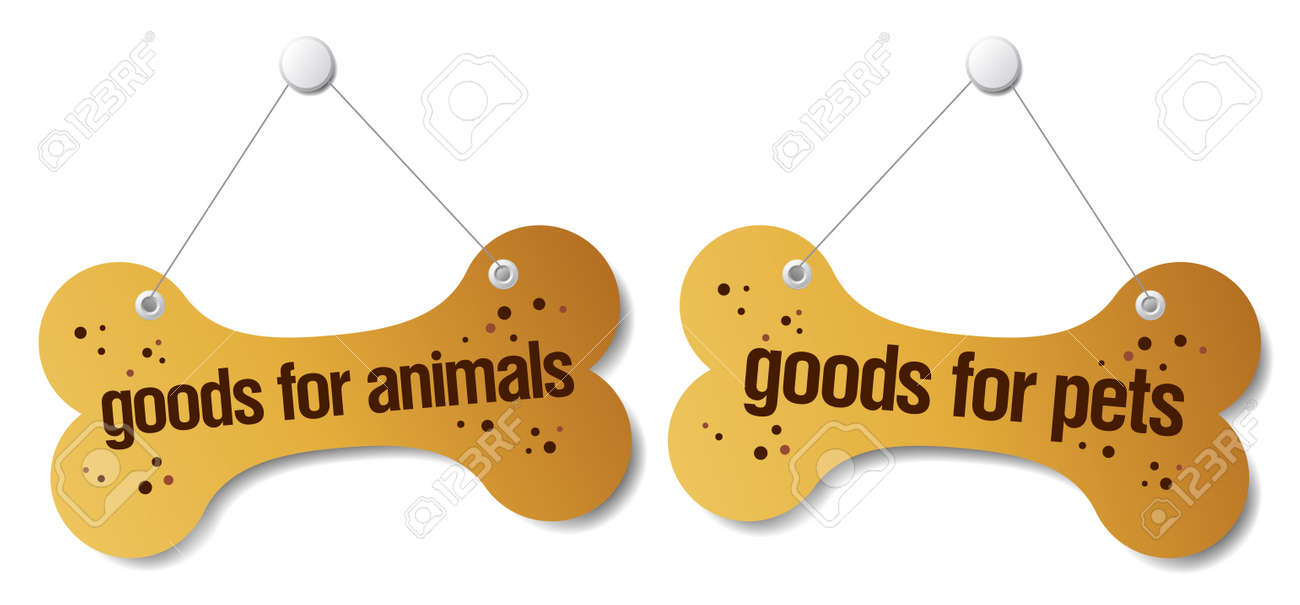 goods for pets signs set Stock Vector - 9059547