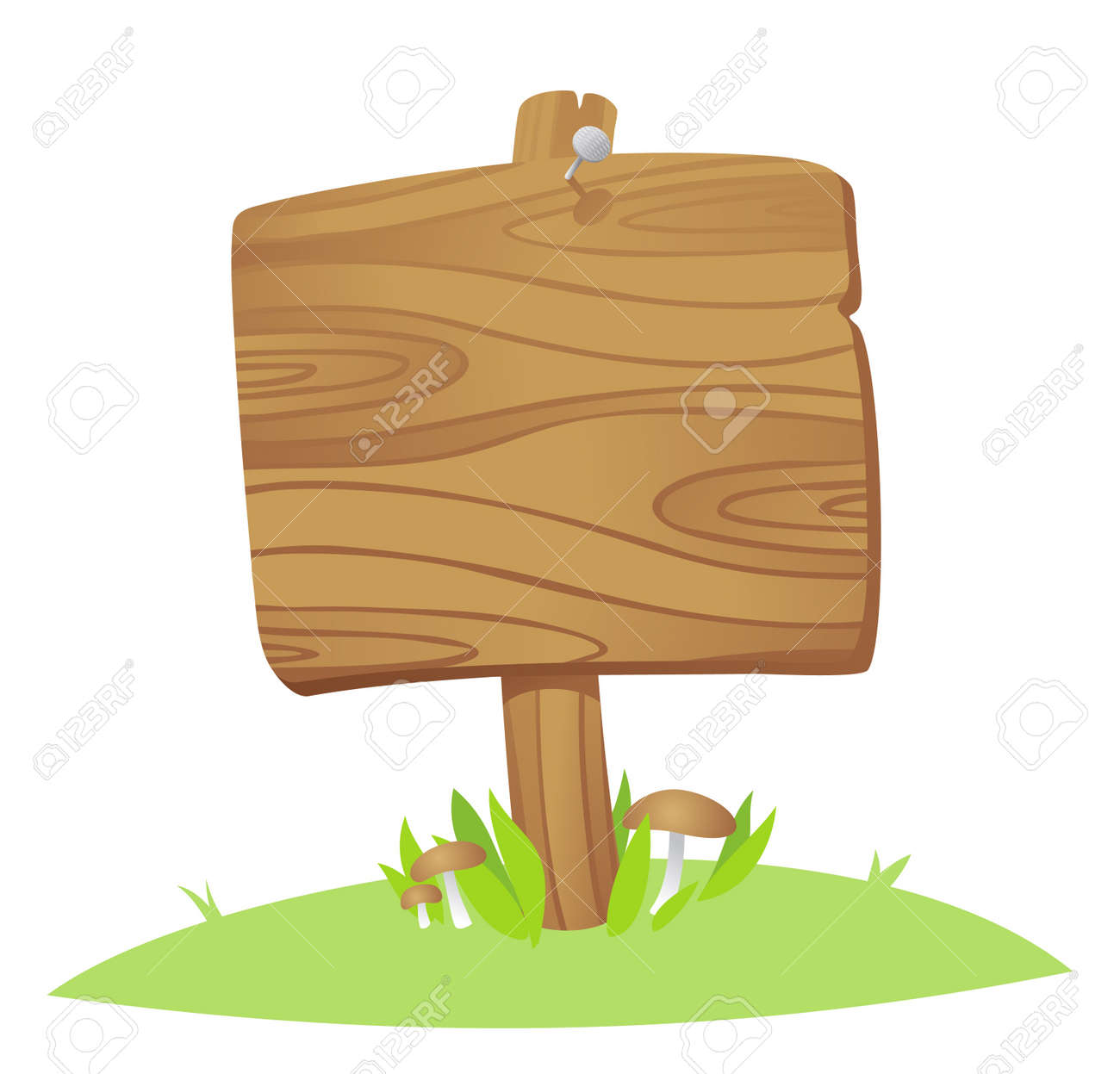 wooden board on a grass Stock Vector - 9130930