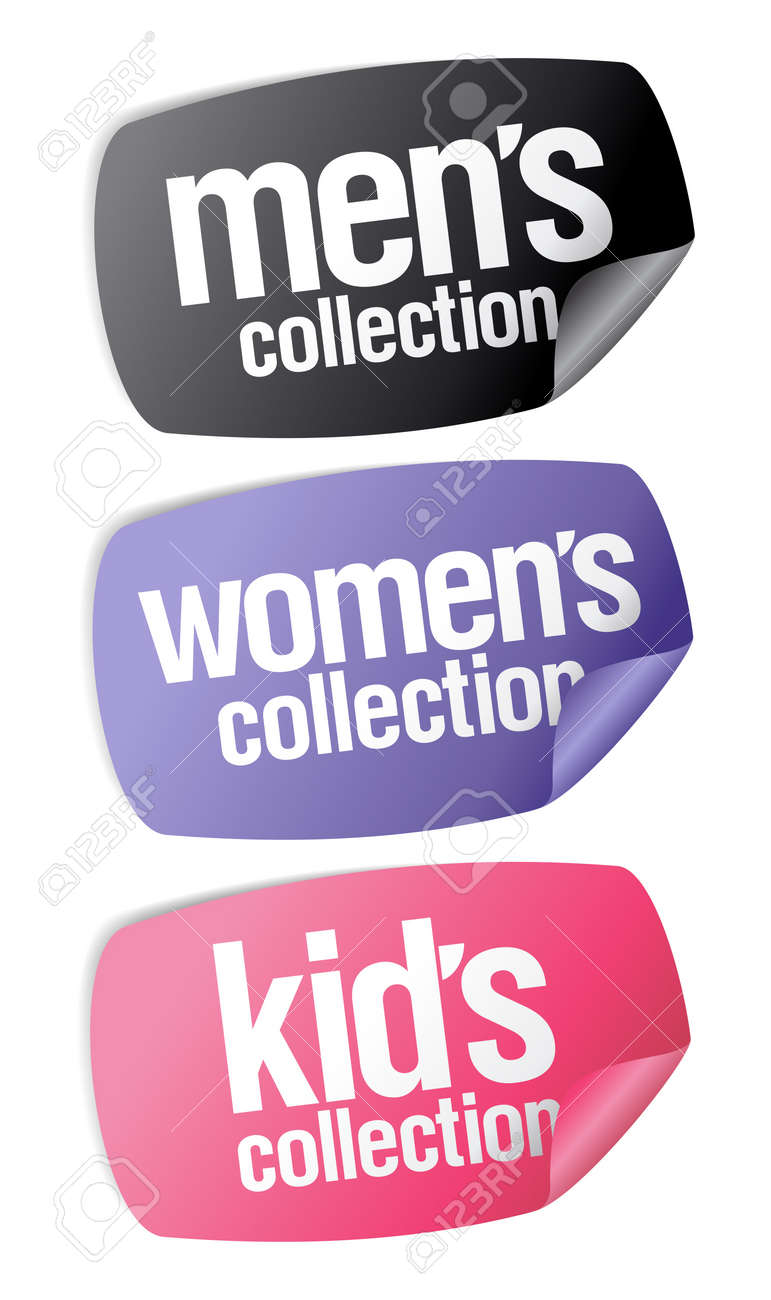 Men`s, women`s and kid`s collection stickers set Stock Vector - 9171363