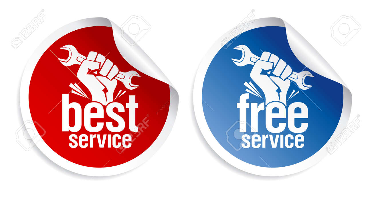 Best and free service guarantee stickers. Stock Vector - 9314753