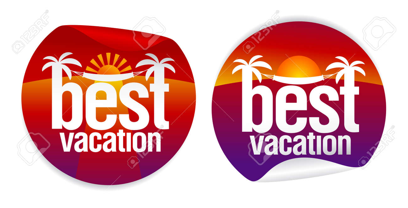 Best vacation labels with tropical sunset. Stock Vector - 9715445