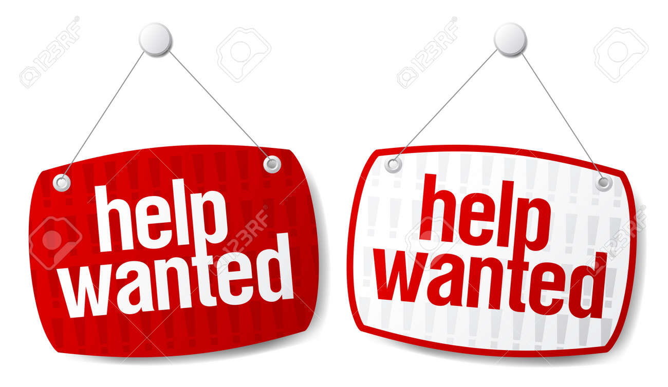 Help wanted red signs set. Stock Vector - 9715463