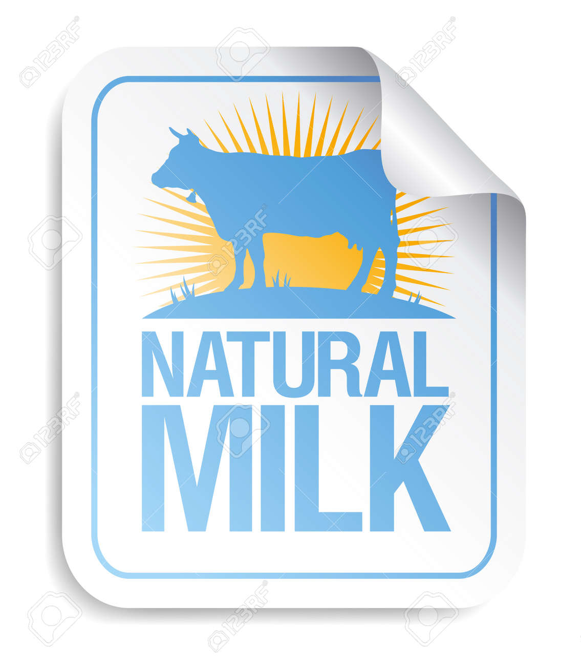 Natural milk sticker with cow. Stock Vector - 9715471
