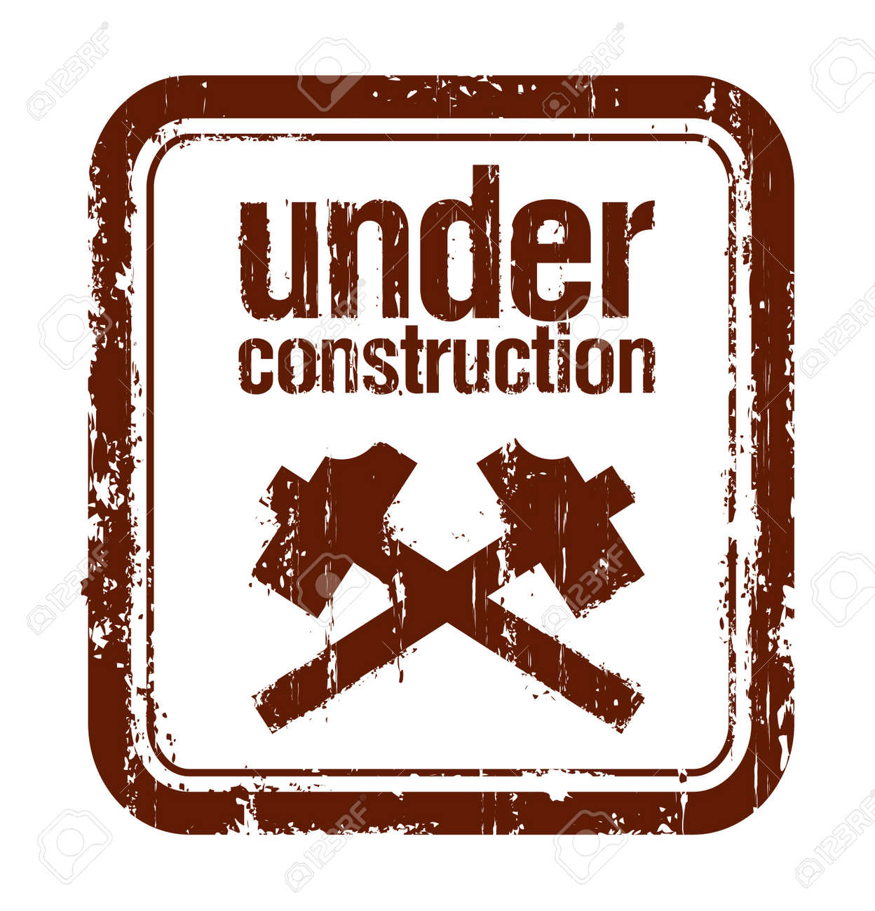 under construction grunge rubber stamp with two hammers Stock Vector - 9715472