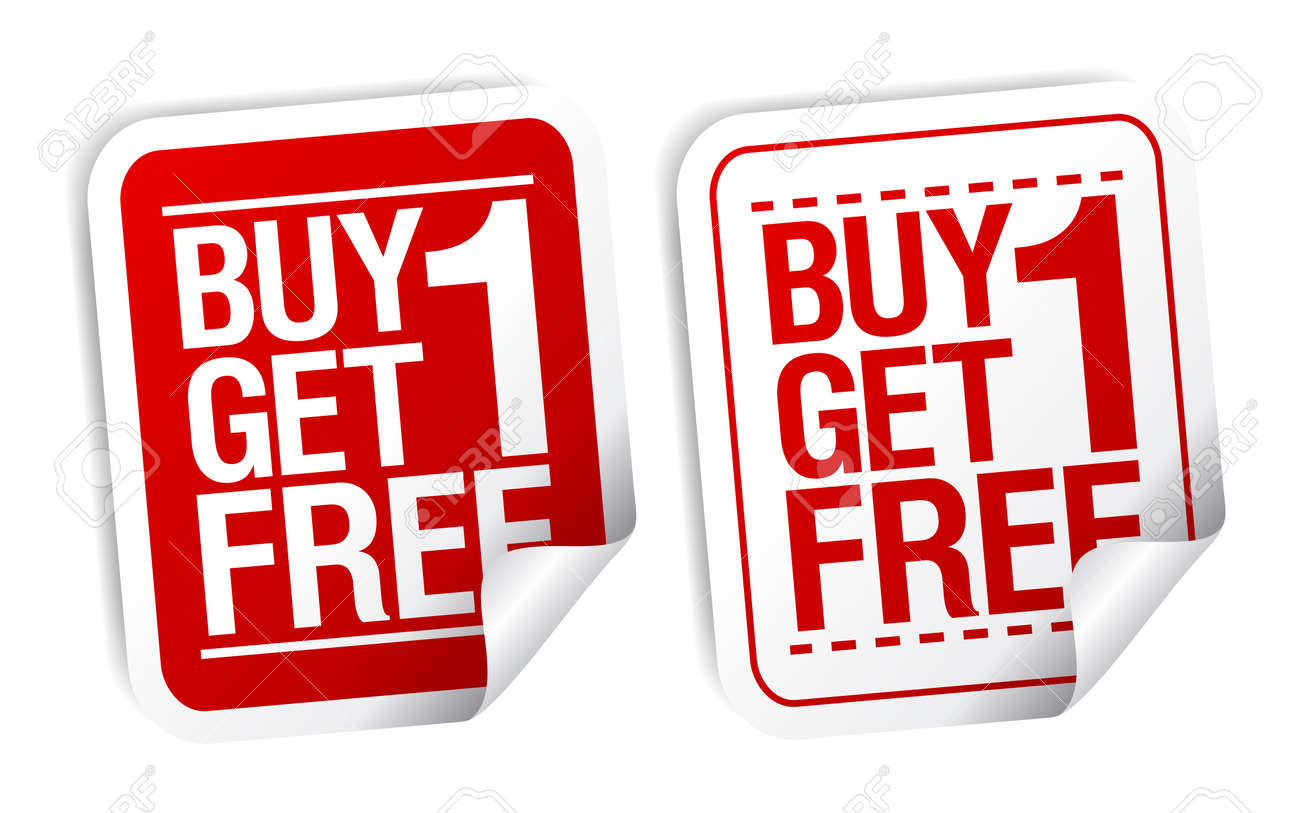 Buy one get one free promotional sale stickers set stock vector 10057847