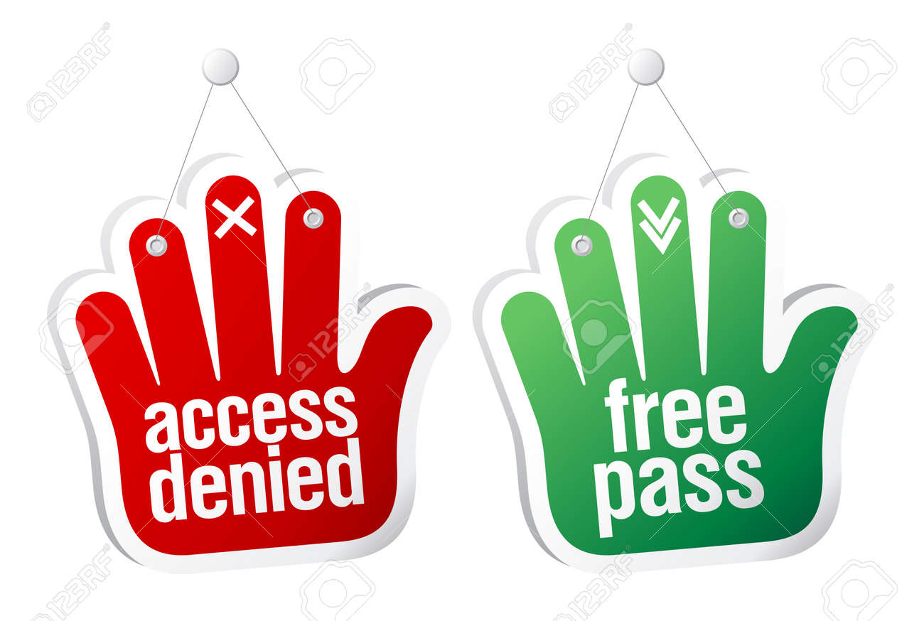 Access denied and free pass tablets set. Stock Vector - 10481843