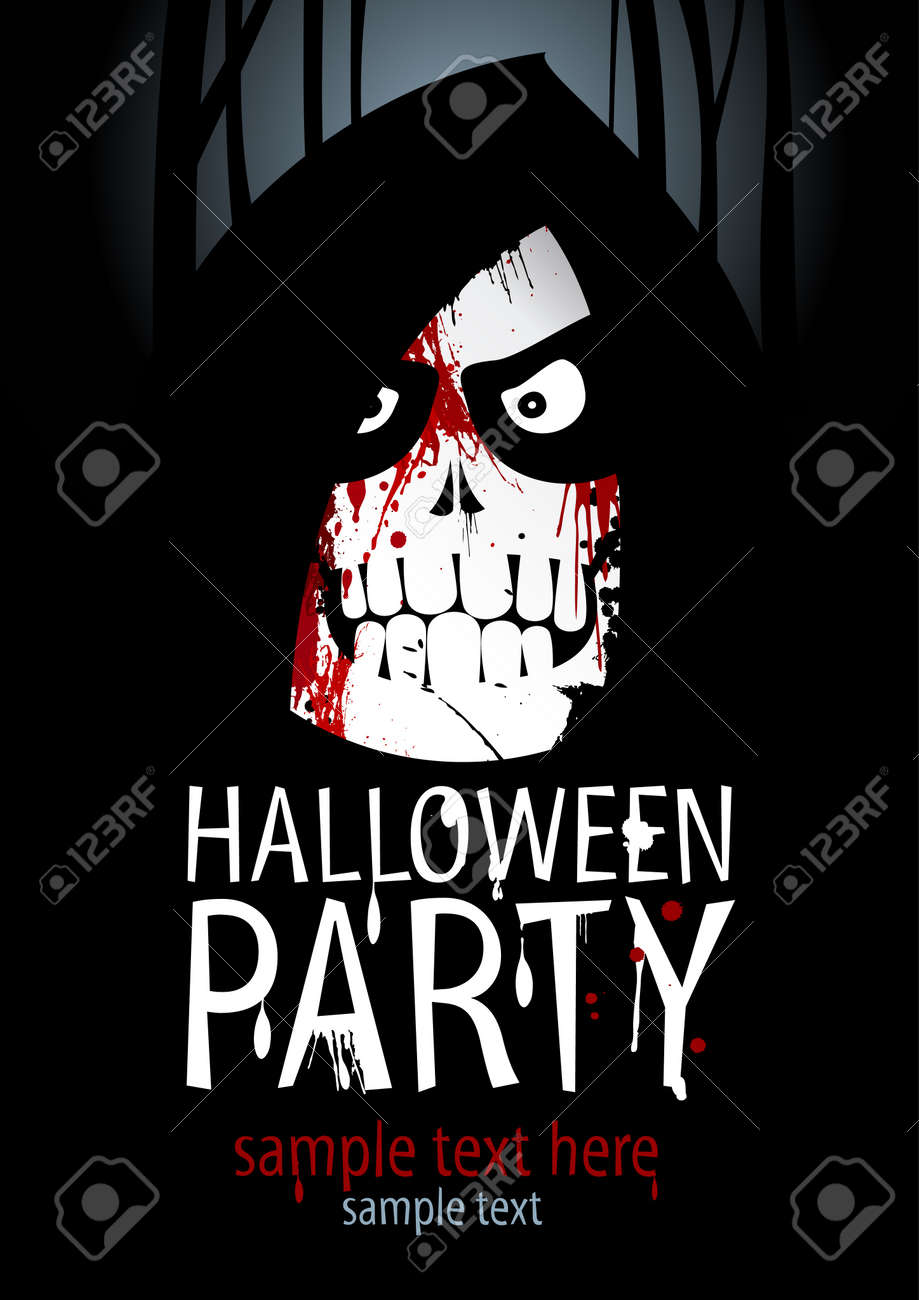 Halloween Party Design Template, With Death And Place For Text ...