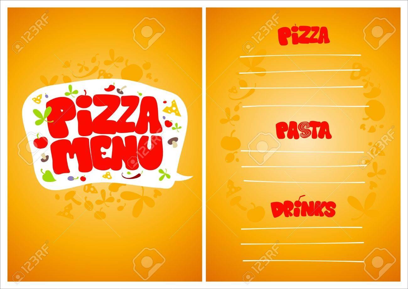 Plantilla De Diseño De Tarjeta De Menú De Pizza. Ilustraciones ...