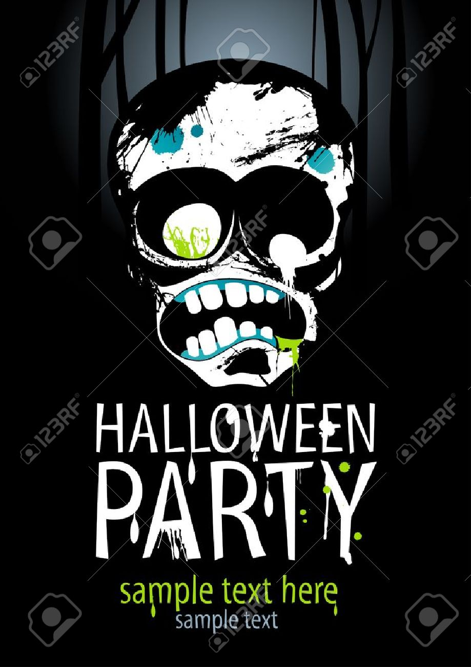halloween party design template with zombie and place for text