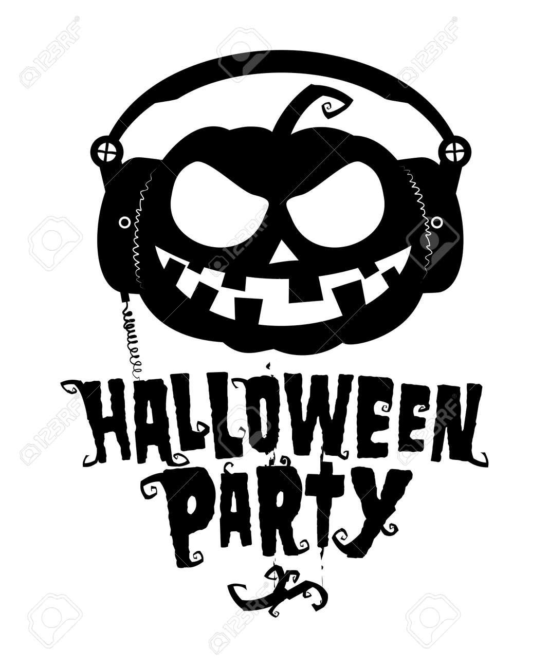 Halloween Party, Pumpkin Wear Headphones Illustration. Royalty ...