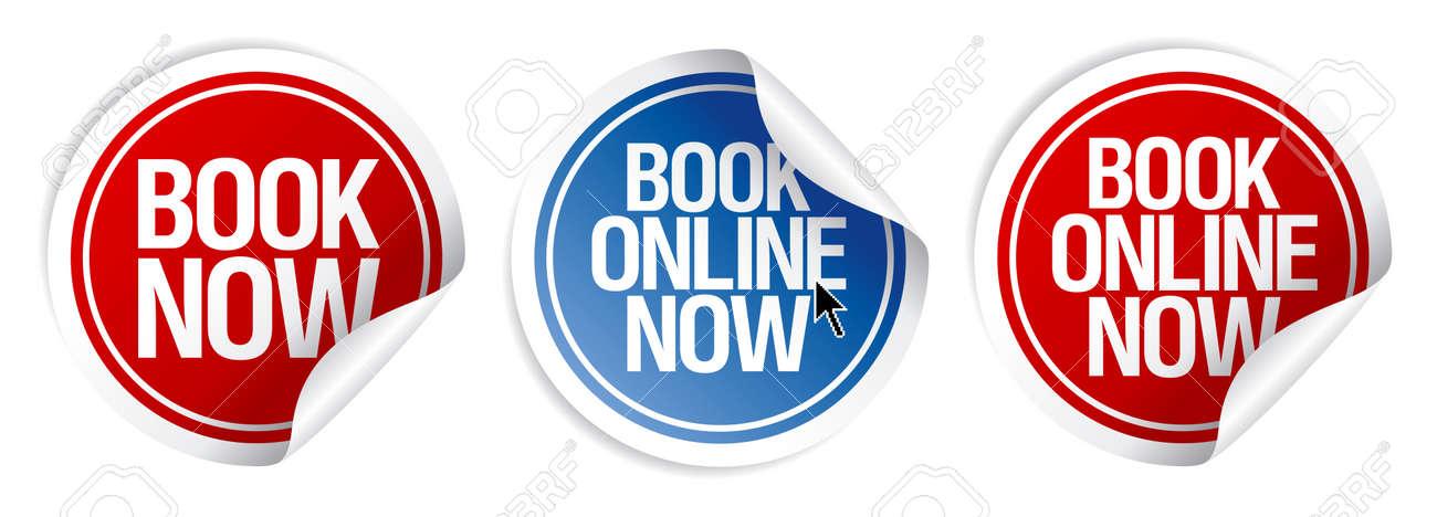 Book online now stickers set. Stock Vector - 10848285