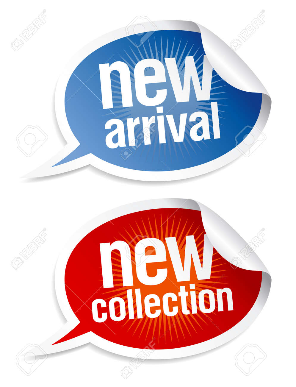 New collection stickers set in form of speech bubbles. - 10957430