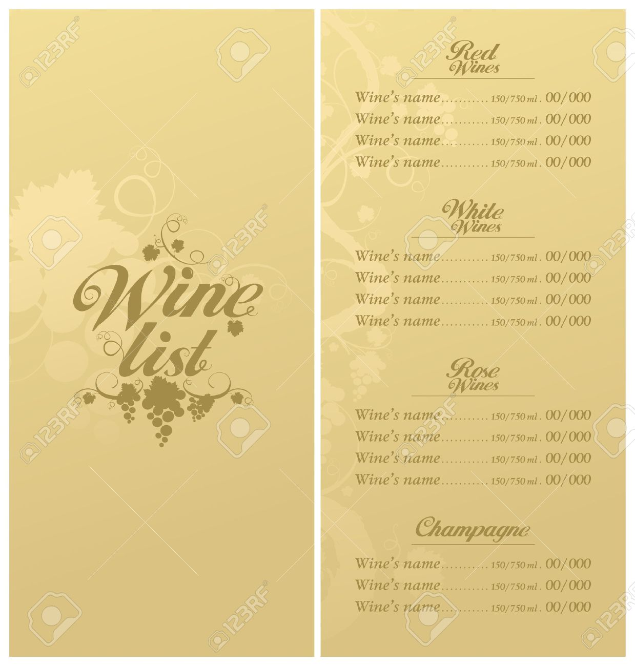 Wine List Menu Card Design Template. Stock Vector   11011781  Free Wine List Template