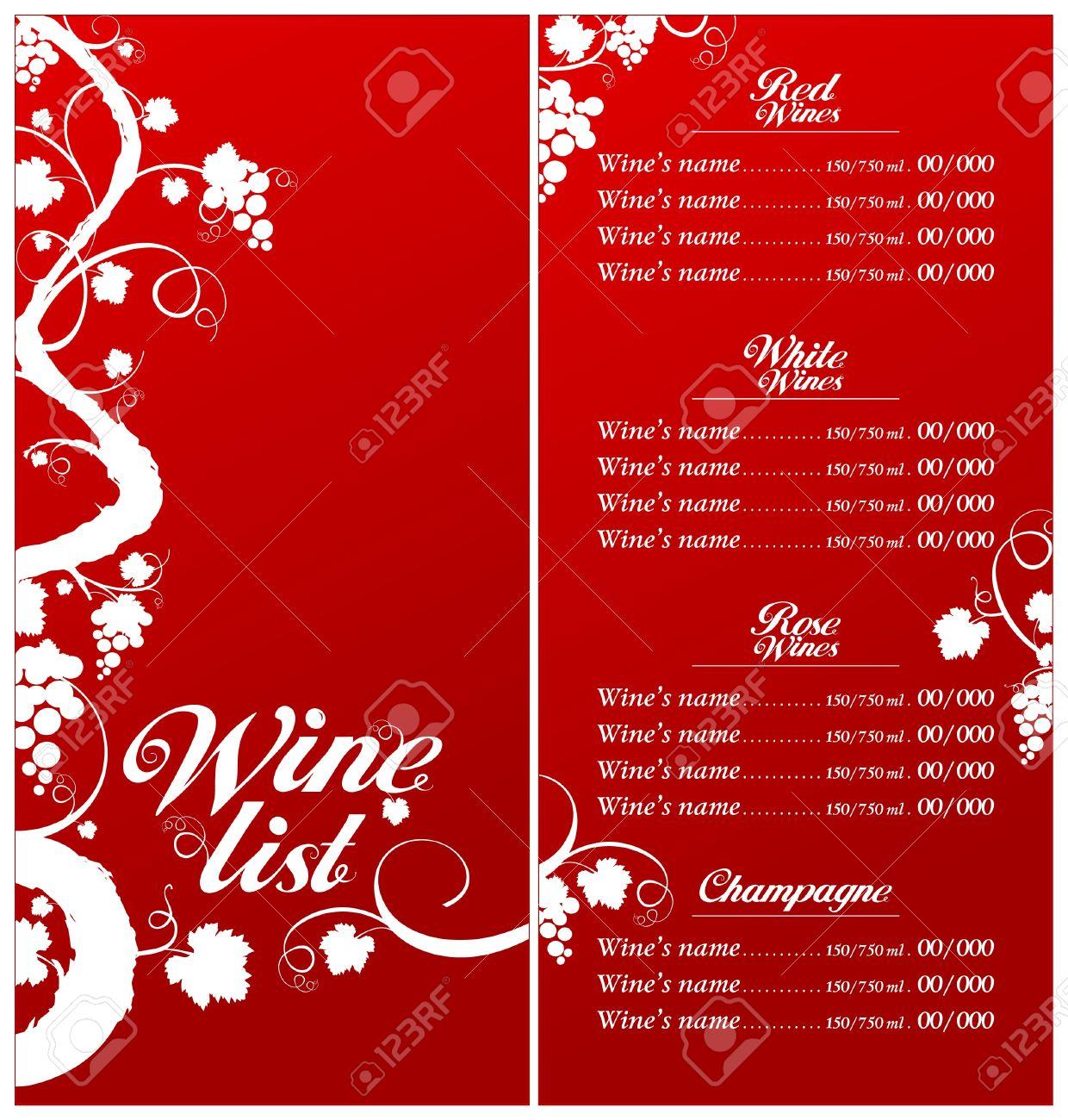 Wine List Menu Card Design Template. Royalty Free Cliparts ...