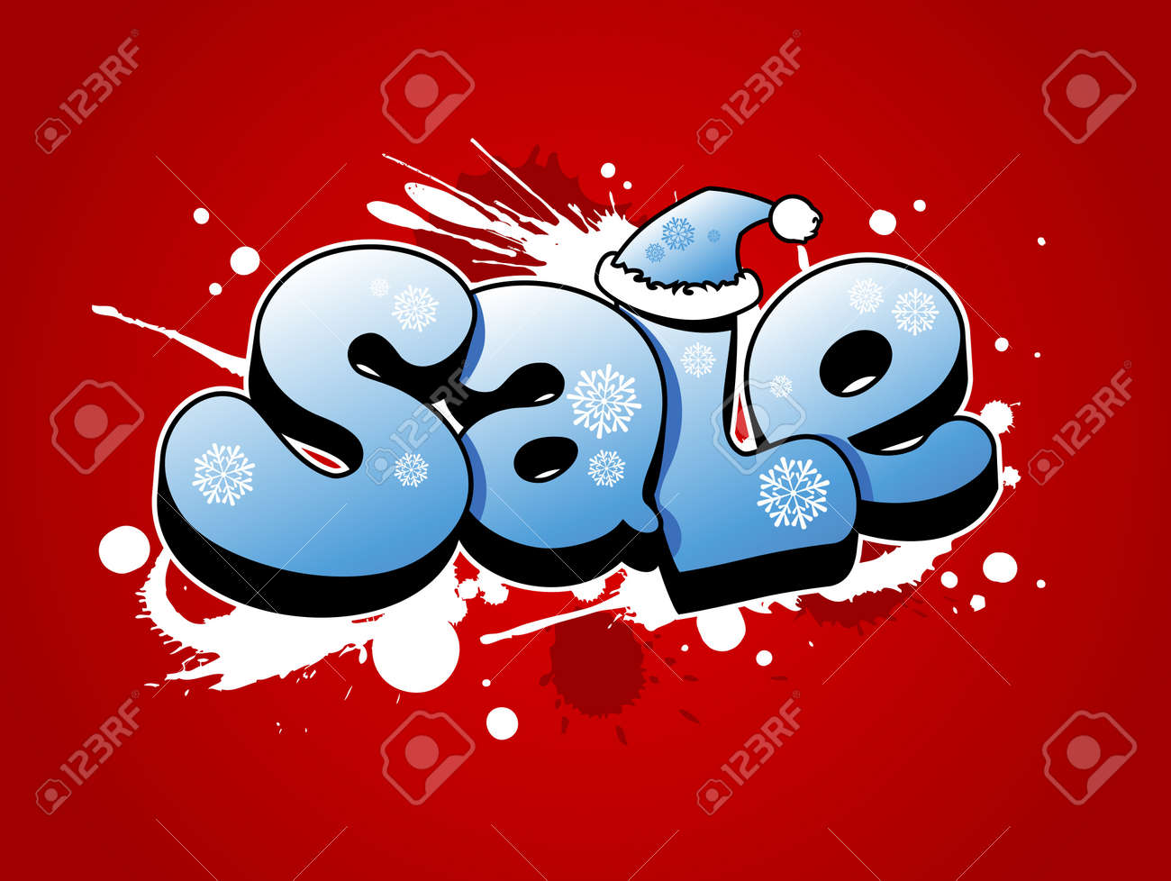 Christmas sale vector illustration with snow splashes. Stock Vector - 11261906
