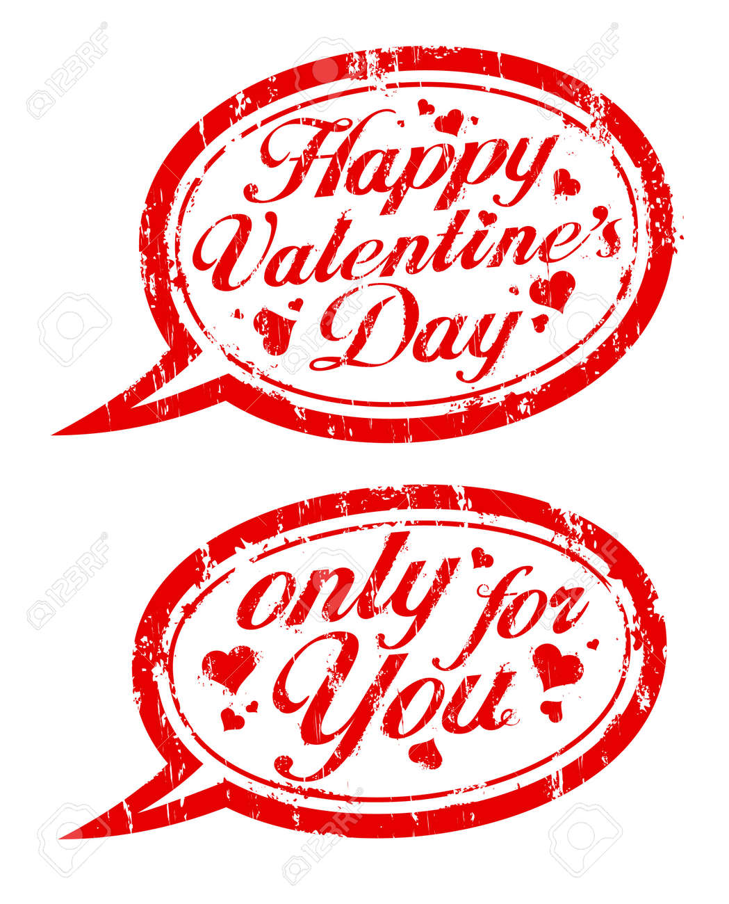 Happy Valentine`s day rubber stamps in form of speech bubbles. Stock Vector - 12075987