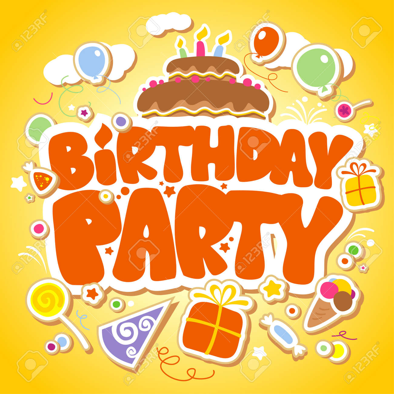 Birthday Party design template for children. Stock Vector - 12230704