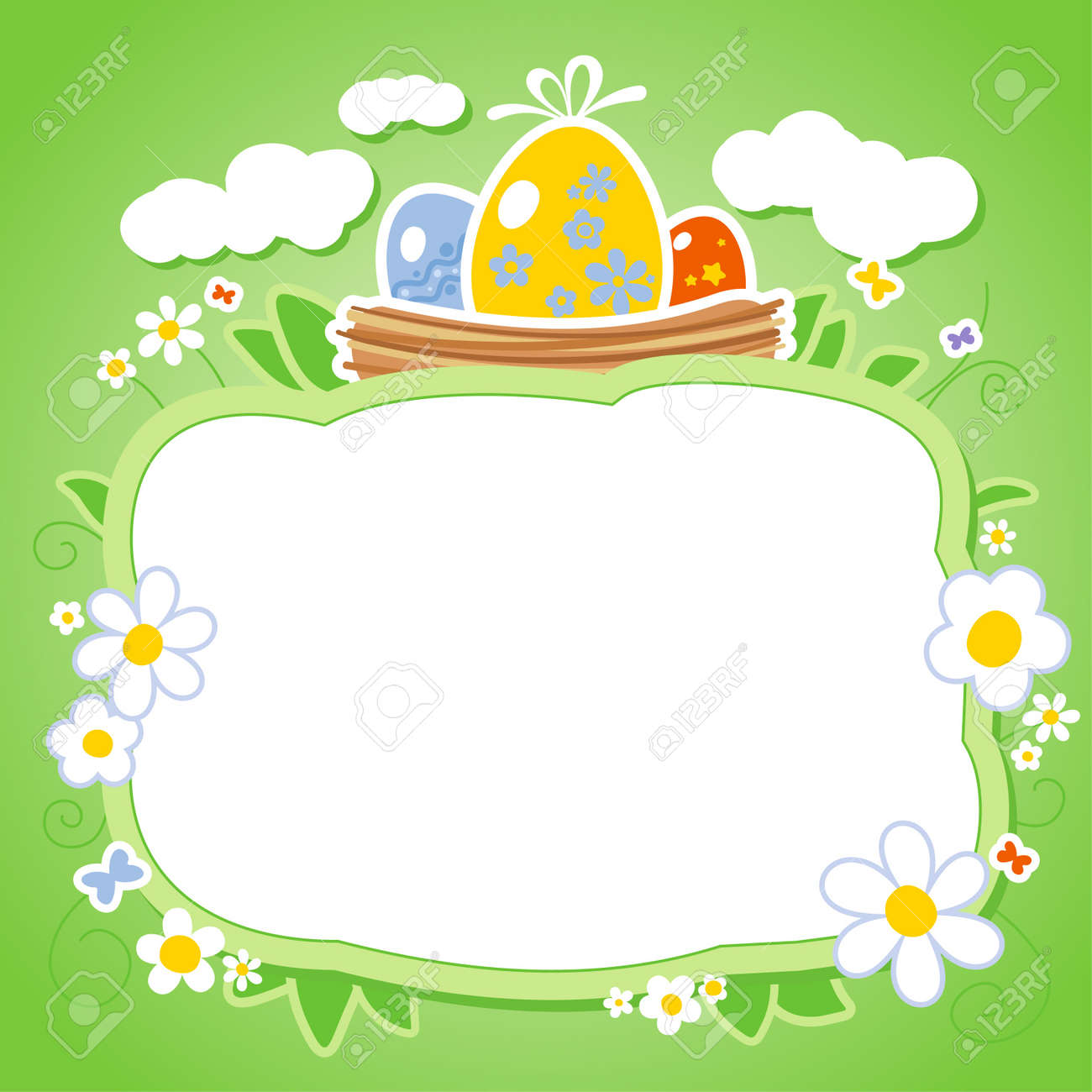 easter card template with frame for photo or text royalty free