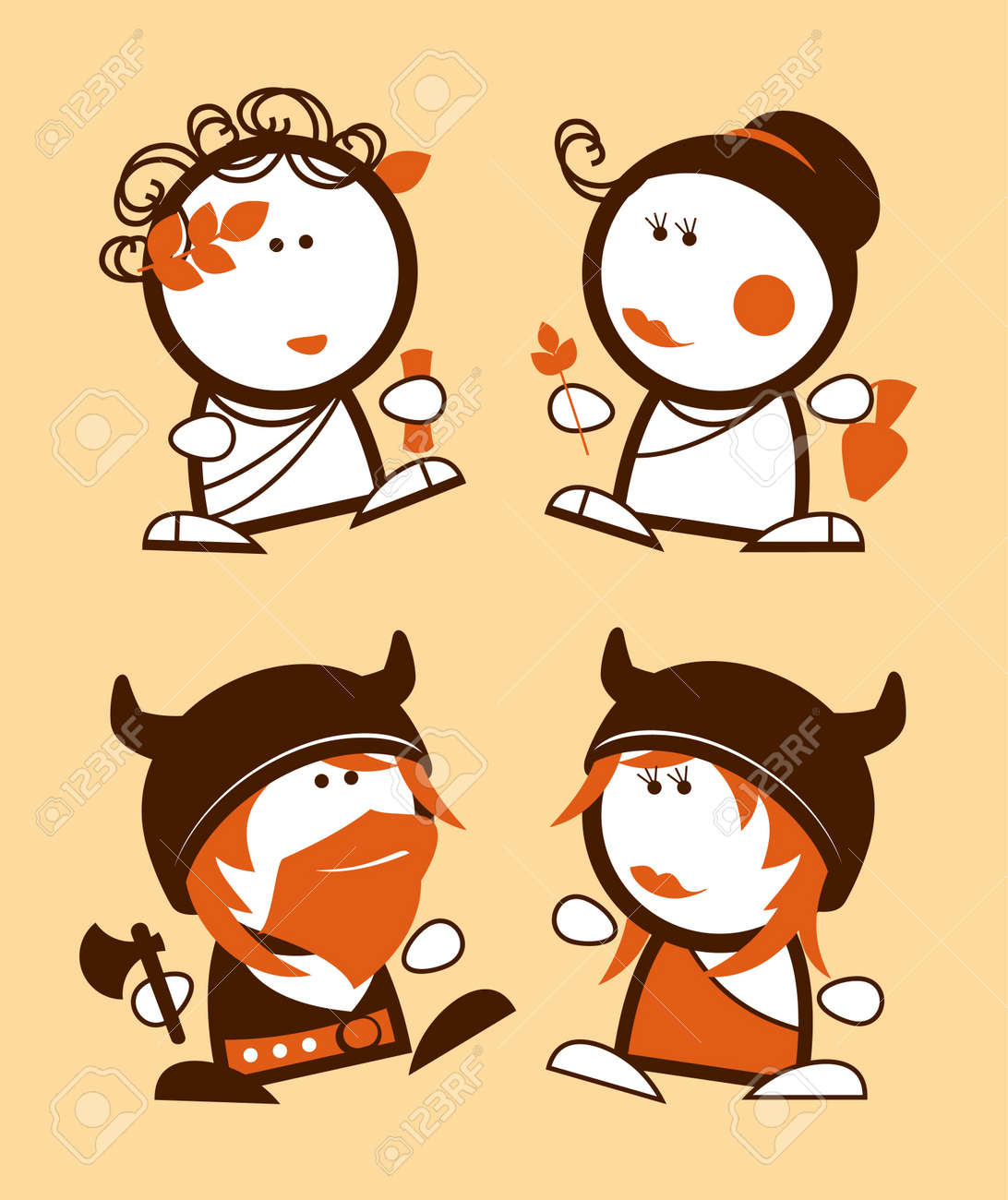 Ancient Greeks and Vikings, historical funny people icons Stock Vector - 12486451
