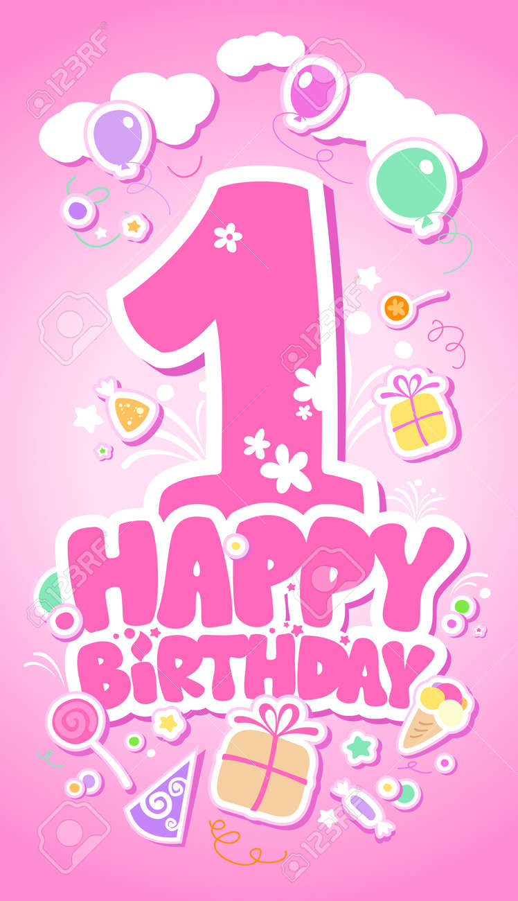 First Happy Birthday pink card. Stock Vector - 12867137