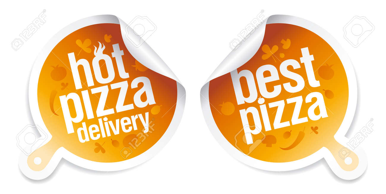 Best pizza, hot pizza delivery stickers Stock Vector - 12867163