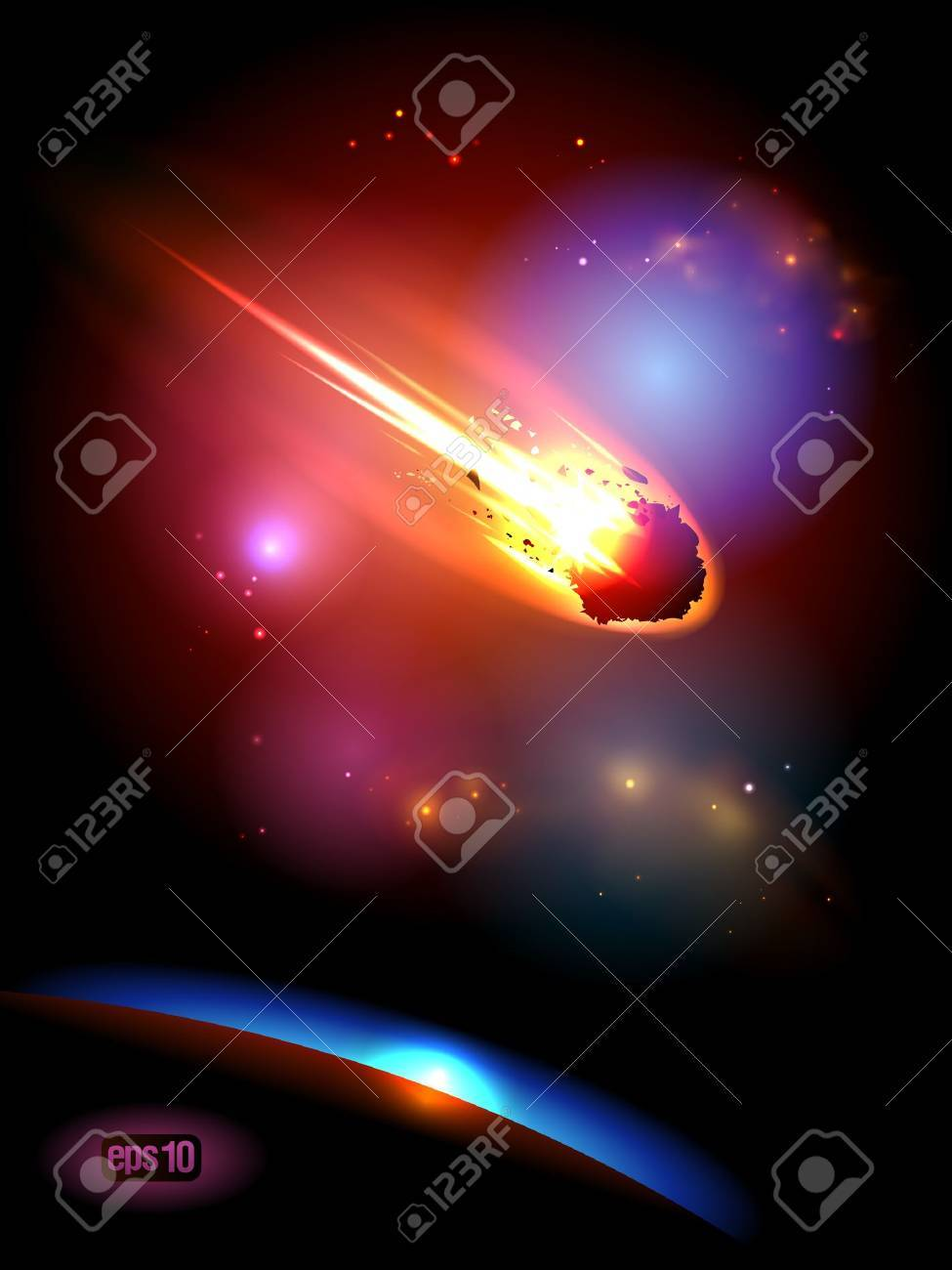 Asteroid is approaches the planet. Stock Vector - 12964698